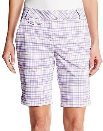 ac2b239e7c93 Puma Plaid Tech Bermuda Womens Golf Shorts - Purple-M  Amazon.co.uk   Clothing