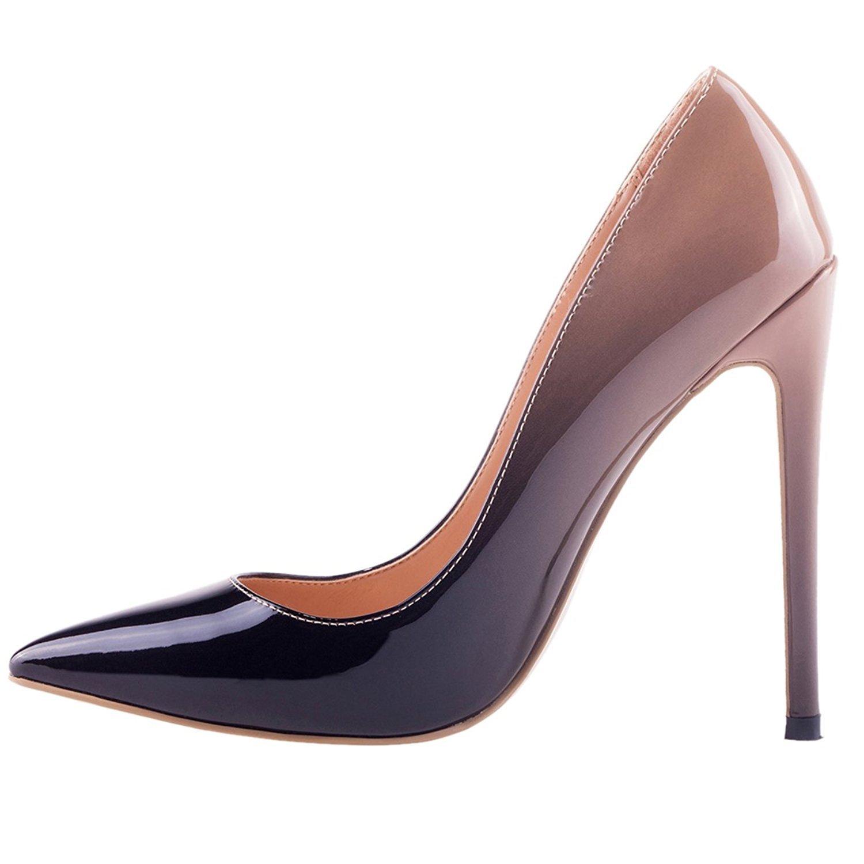 Jushee Damen Sexy Klassische Schwarz Stiletto High Heels Kleid Buuml;ro Pumps41 EU|nackt schwarz