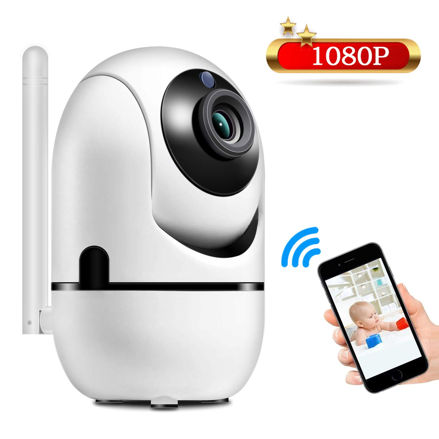 1080P Baby Monitor, JIMAMA Automatic Motion Detect WiFi Camera High Clear Audio Pet Monitor with Camera Indoor Security Surveillance System Night Vision 360 Degree Controlled by iPh0ne and Android
