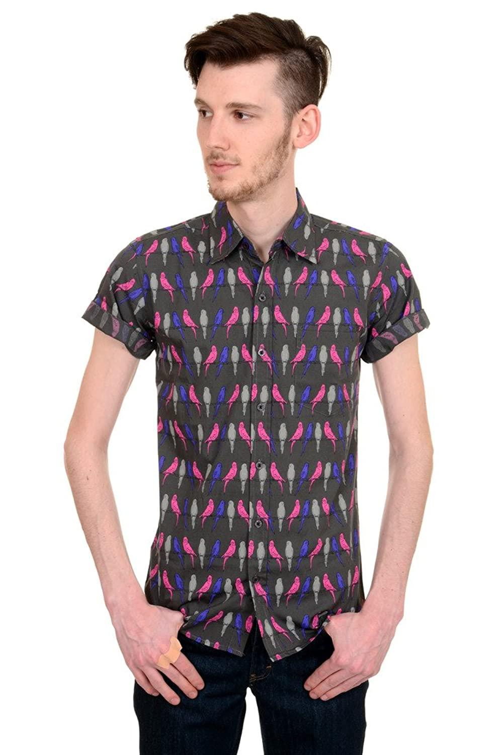 Men's Vintage Style Shirts Mens Run & Fly 60s 70s Indie Preppy Retro Budgies On A Perch Short Sleeve Shirt $34.95 AT vintagedancer.com