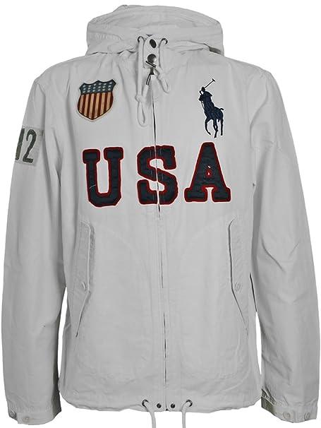 RALPH LAUREN Hombre Diseñador Polo Capucha Chaqueta - USA BIG PONY -XL