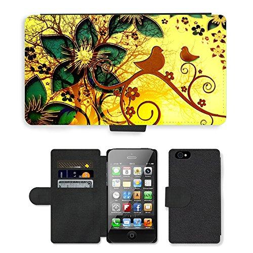 Just Phone Cases PU Leather Flip Custodia Protettiva Case Cover per // M00128155 Twitter Oiseaux Curlicue Swirl Kringel // Apple iPhone 4 4S 4G