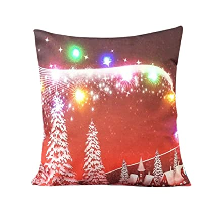 Salbota Funda de Almohada, Navidad iluminación LED Funda de ...