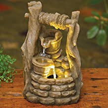 Bits and Pieces Indoor LED Wishing Well Fountain - Zen Tabletop Water Fountain