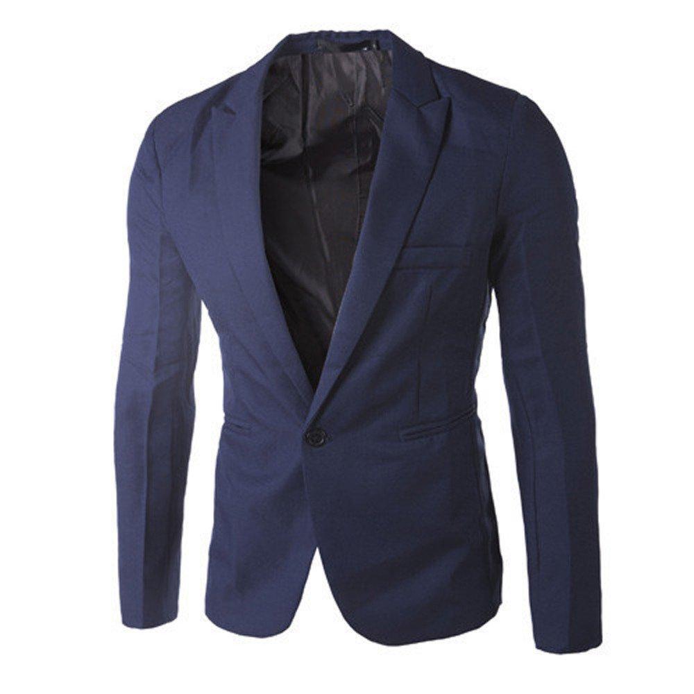 Men's Casual Fashion Slim Fit One Button Suit Blazer Coat Jacket Tops Navy