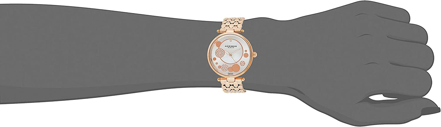 Akribos XXIV Women's AK963 Quartz Stainless Steel Casual Mother-of-Pearl Swarovski Crystals Watch Rose Gold