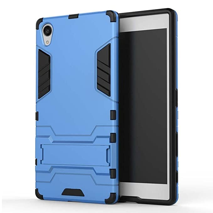 MaiJin Case for Sony Xperia Z5 Premium (5.5 inch) 2 in 1 Shockproof with Kickstand Feature Hybrid Dual Layer Armor Defender Protective Cover (Blue)