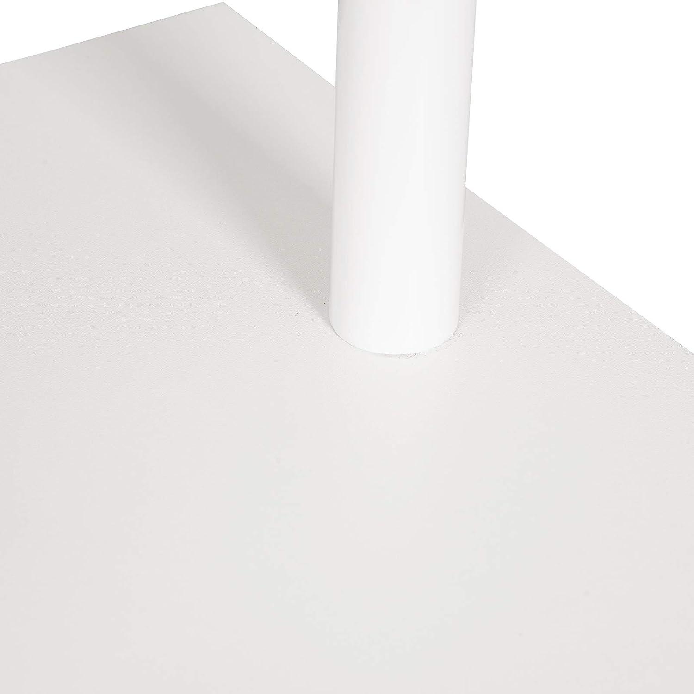 eSituro Tavolo da Bar Alto Bar Arredamento Penisola Cucina con Scaffale Struttura in Acciaio Bianco SBST0405