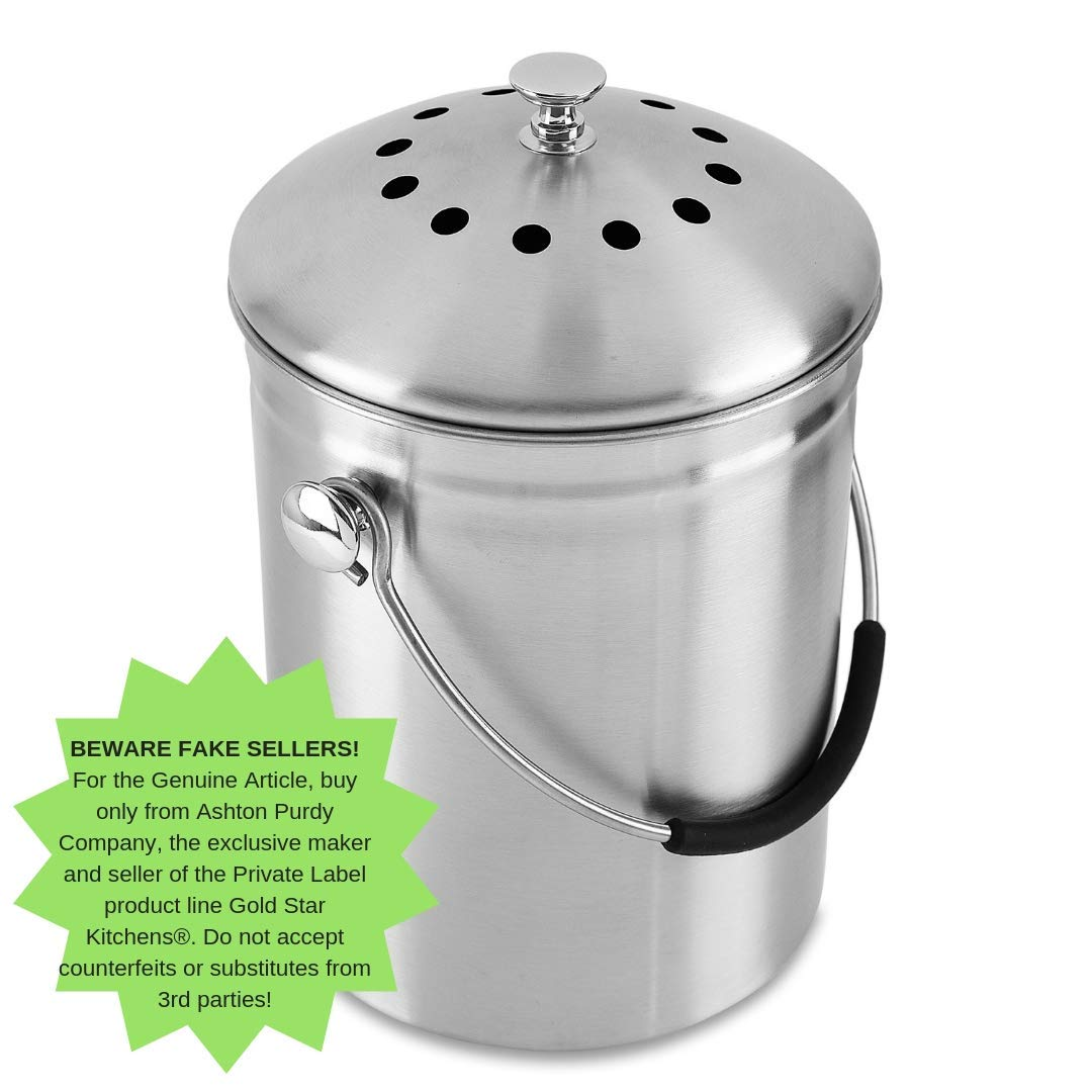 Amazon.com: Gold Star Kitchens – Cubo de basura de compost ...