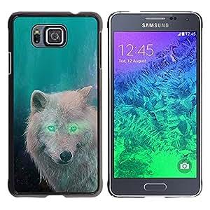 Be Good Phone Accessory // Dura Cáscara cubierta Protectora Caso Carcasa Funda de Protección para Samsung GALAXY ALPHA G850 // White Wolf Green Eyes Alien Forest Magic