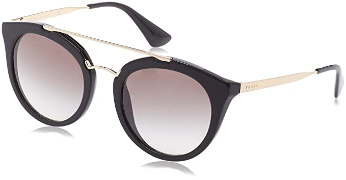 3da6902da173 Amazon.com: Prada Women's Round Aviator Sunglasses, Black/Grey, One ...