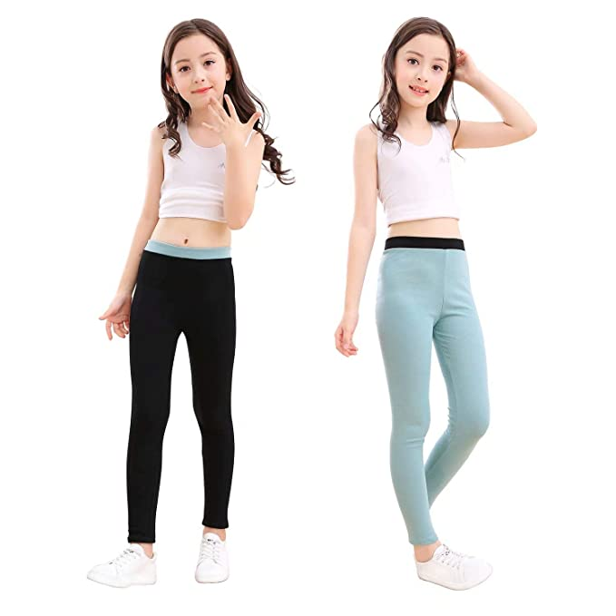 dbbd5c2ff40c3 slaixiu Cotton Ankle Length Girls Leggings Stretchy Kids Pants  3-12y(GP04_Black&Green_110)