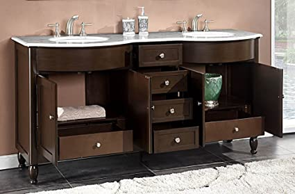 silkroad exclusive marble top double sink bathroom vanity with dark walnut finish cabinet 72 - Double Sink Bathroom Vanities