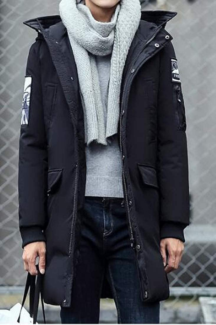 Zimaes-Men Mid-Long Warm Thick Hood Winter Down Coat