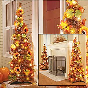 """52"""" LED Lighted Harvest Fall Thanksgiving Pop Up Collapsible Colorful Maple Leaves Autumn Tree Decoration (2)"""