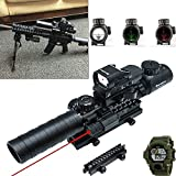 Lozotac Tactical Riflescopes Optics 3-9x32 EG 4 IN 1 Combo Rifle Scopes 5 Postitions Reticle Red Dot Reflex sight/ Quick Release Mount Red Laser Beam/ Riser Mount 0.83