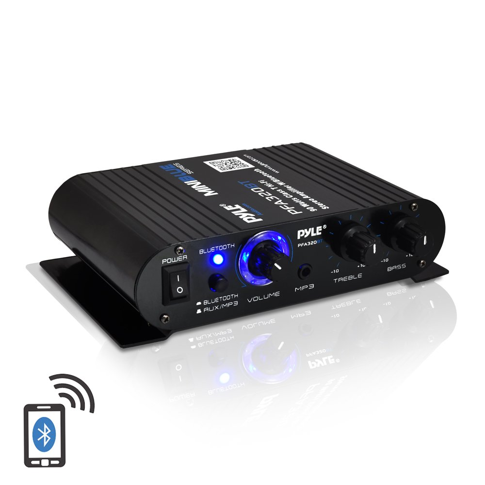 Pyle-Pro PFA320BT Bluetooth Mini Blue Series Compact Class-T Amplifier, 90 Watt Max Power with Aux