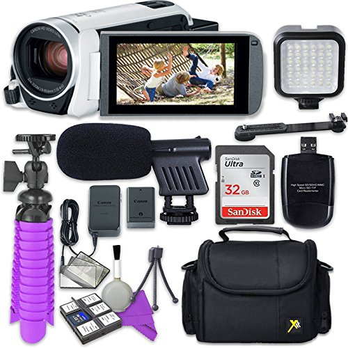Canon VIXIA HF R800 (White) Camcorder with Sandisk 32 GB SD Memory Card + Video Accessory Bundle by Canon