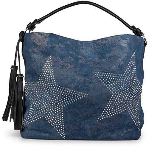 styleBREAKER Borsa di Jeans con stelle e applicazioni di strass in un aspetto vintage, borsa a tracolla, donna 02012035, colore:Blu-Nero