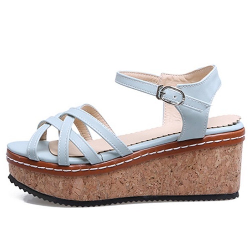 CarziCuzin Women Wedge Heel B07D11RL7C Sandals Shoes B07D11RL7C Heel 6.5 US = 24 CM|Light Blue 410744