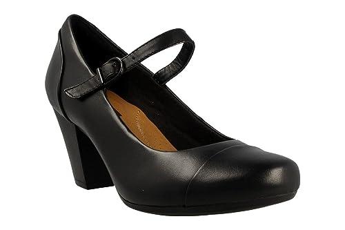 dd2fe4decda3 Clarks Womens Black Leather Heeled Court Shoe  Amazon.co.uk  Shoes ...