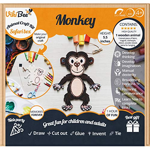 VikiBee Safari Animals Wooden Crafts Monkey - Decorate Your Own Animals - Learning Toy Kids Craft - Wooden Craft to Paint - Zoo Animals Cutout Educational Toy Unique Gift - Painting Craft (Monkey) ()