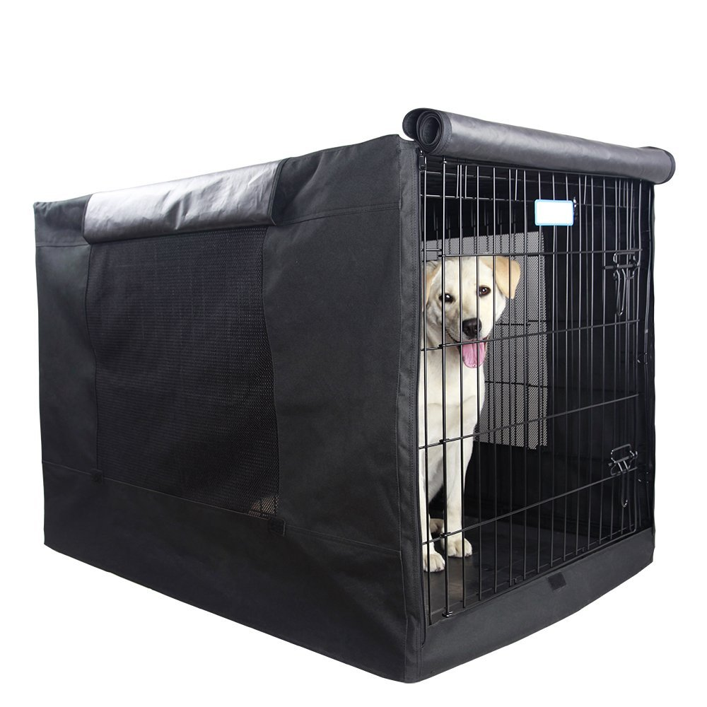 Black (Single Door) 42 Lx28 Wx30 H(5000)Petsfit Extra Side Door Polyester Crate Cover for 42  Wire Crate 42  L x 28  W x 30  H