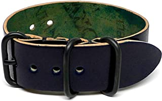 product image for DaLuca Shell Cordovan 1 Piece Military Watch Strap - Navy (PVD Buckle) : 20mm