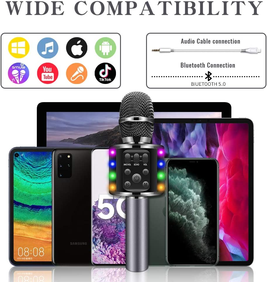 Black XBUTY Wireless Bluetooth Karaoke Microphone with Dual Sing,4 in 1 Portable Karaoke Machine Speaker for Android//iPhone//PC