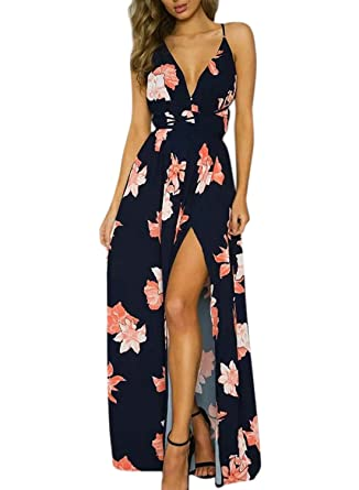 Azbro Womens Backless Floral Printed High Slit Maxi Prom Dress, ...