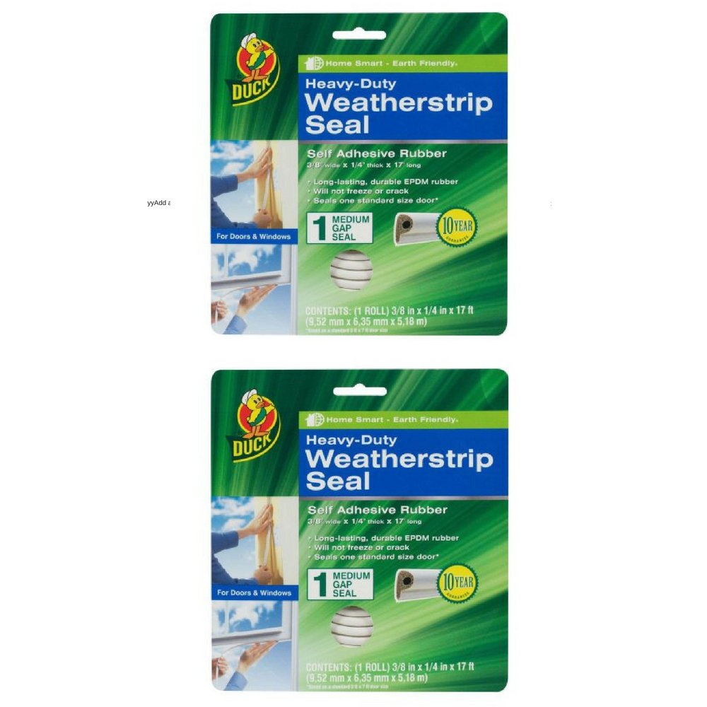 Duck Brand Heavy-Duty Weatherstrip Seal - Medium Gap.38 in. x .25 in. x 17 ft. 2-Pack