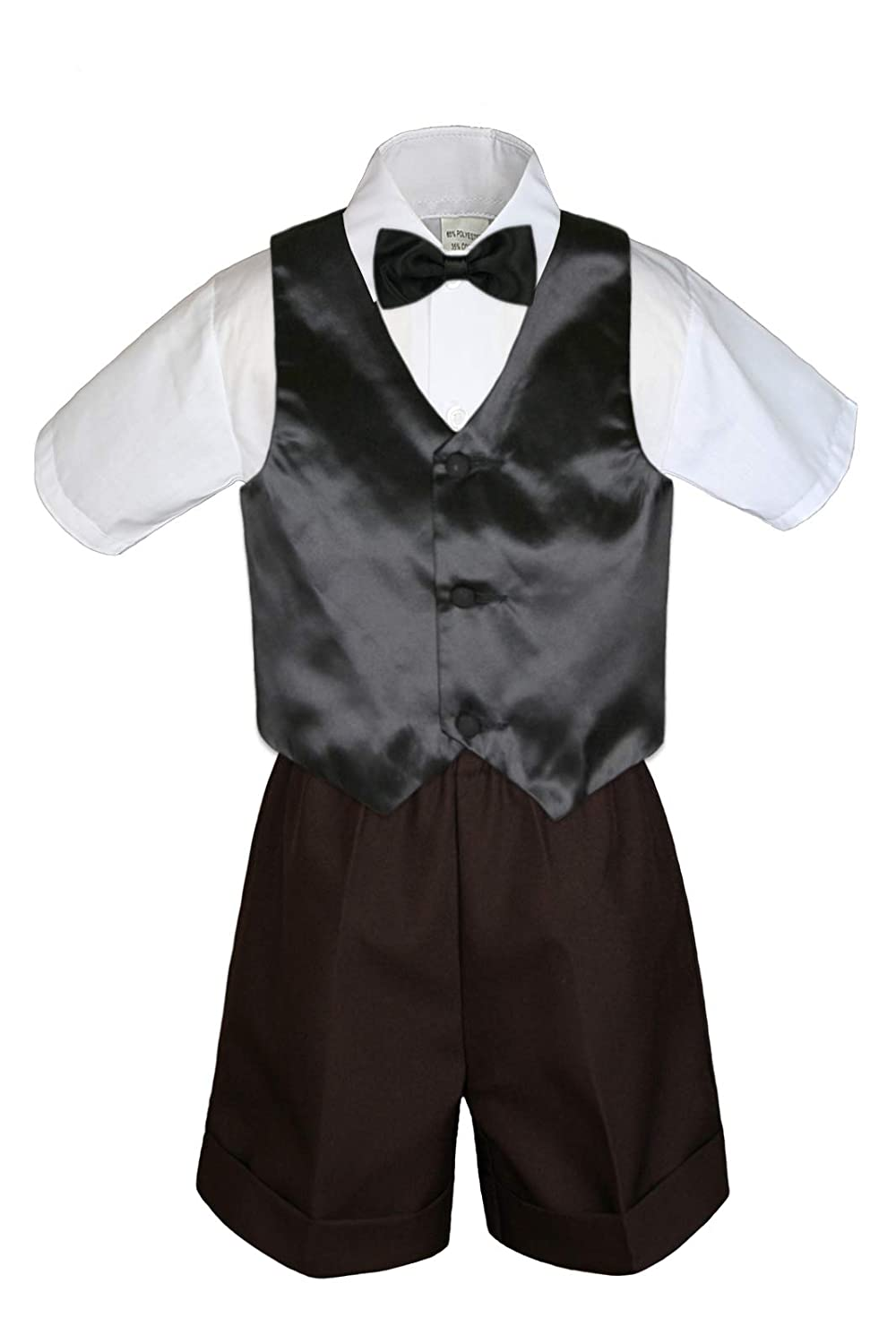 MILLTEX 4 Pieces Set Formal Party Wedding Color Satin Vest /& Bow tie Shirt Brown Shorts Set New Born Baby Boy Toddler Sm-4T