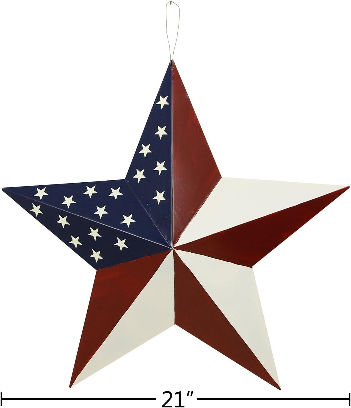 "Set of 8 Red Primitive 6/"" Barn Stars Metal Patriotic Americana USA Flag Rustic"