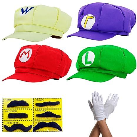 Super Mario Gorra Luigi Wario Waluigi - Conjunto de Disfraces para Adultos  y niños + 4X Guantes y 6X Barba pegajosa Carnival   Cosplay - Classic Cappy  Cap  ... 72c9de1e447