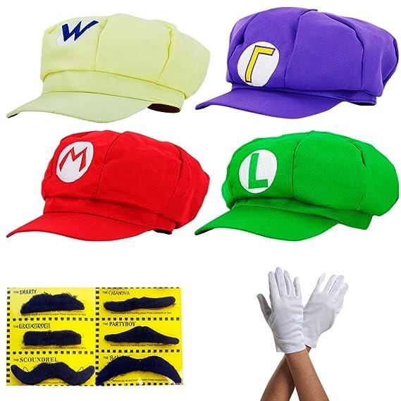 Super Mario Hat Mario Luigi Wario Waluigi Cap Cosplay Anime Costume Dress Up