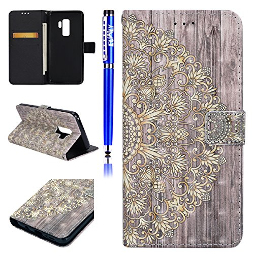 EUWLY Samsung Galaxy S9 Plus Flip Case,Samsung Galaxy S9 Plus Leather Wallet Case,3D Retro Ultra Slim PU Leather Flip Cover Wallet Case with Card Slots Stand Credit Card Holder Function Magnetic Closu Golden flower
