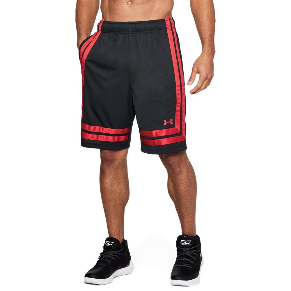 Under Armour Men's Baseline 10'' Shorts, Black (002)/Red, Small by Under Armour