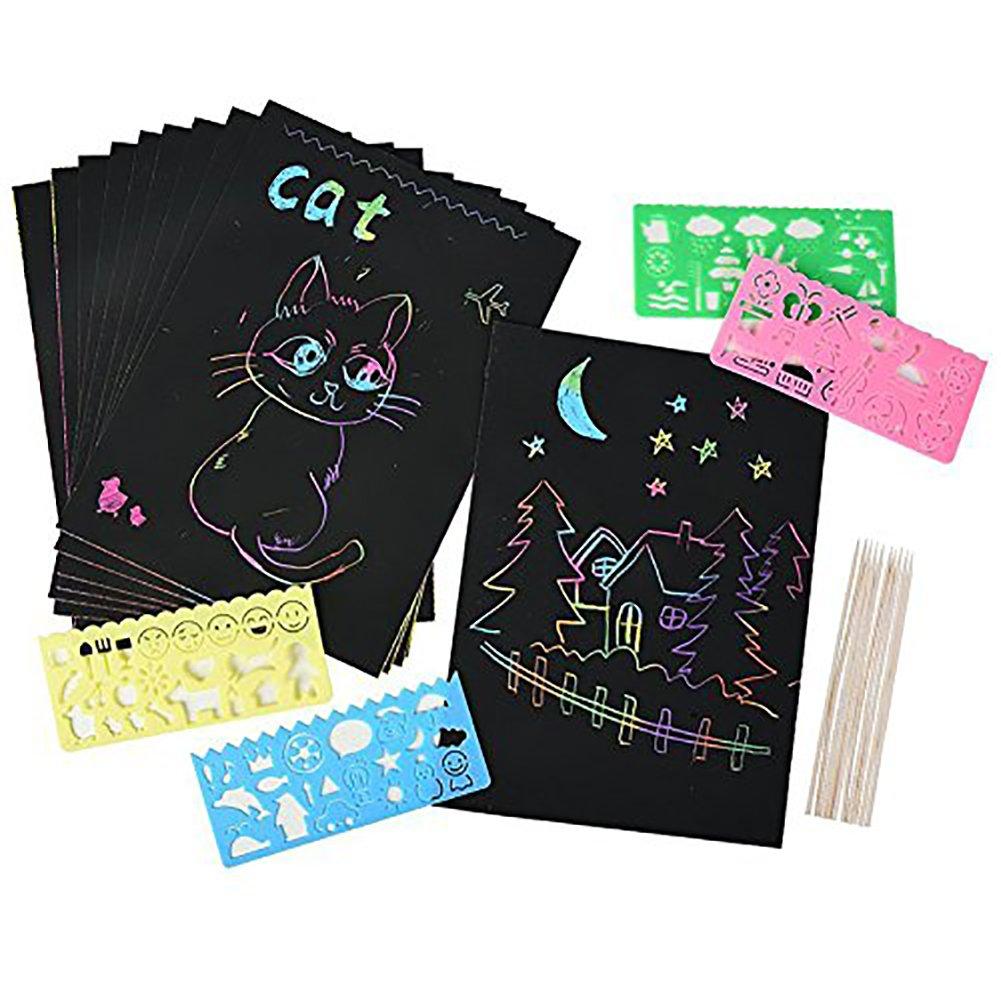 40 hojas de papel raspado para niños Rainbow Scratch Art Paper Magic ...