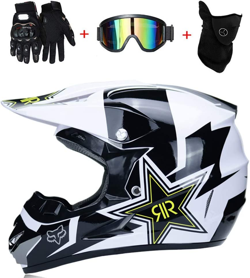 LYZL Adult motocross helmet and adult MX off-road motorcycle gloves, goggles, masks, 4 piece sets; can be used in a variety of colors and styles