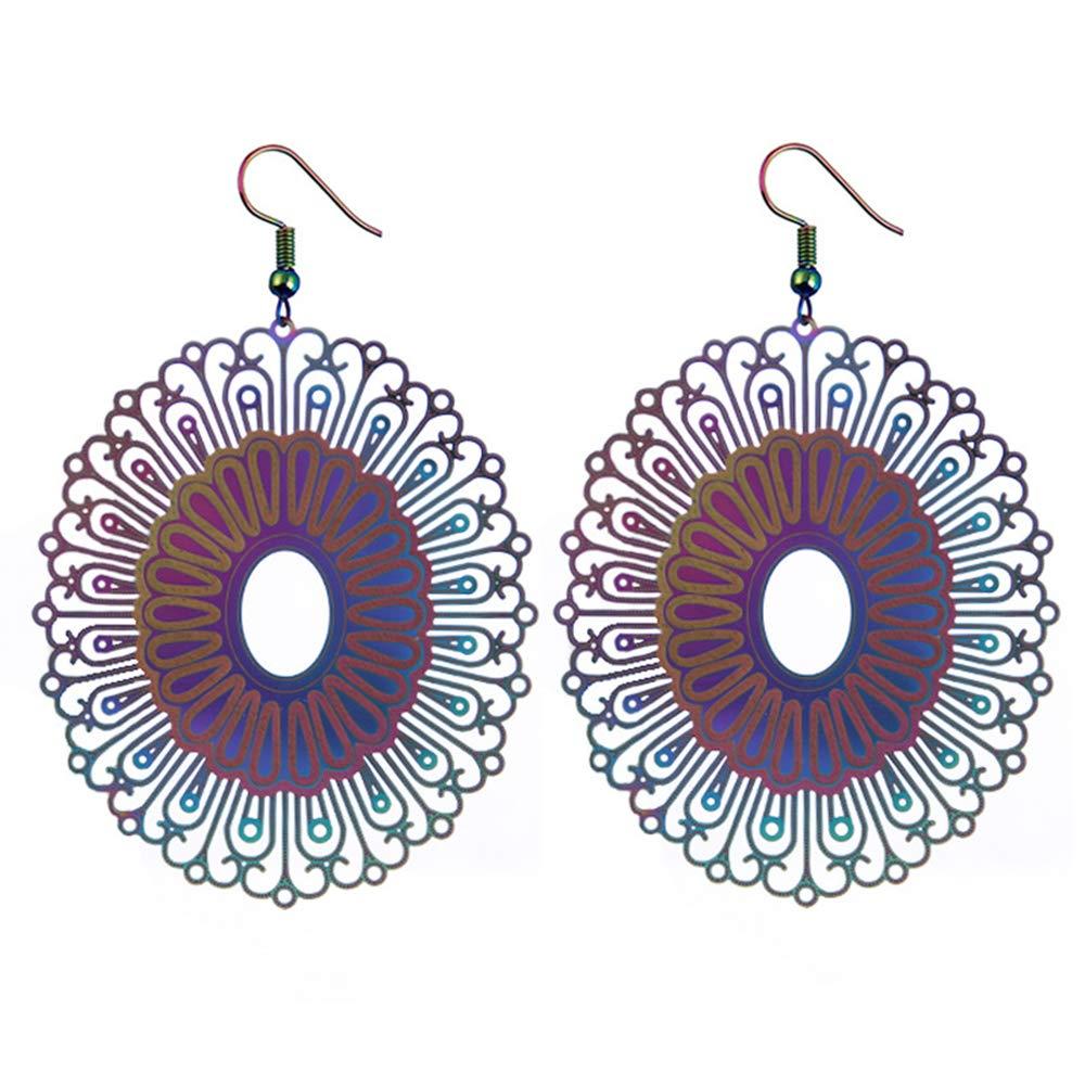EmmaGreen Filigree Flower Dazzling Dangle Big Pendant Geometric Drop Earrings Teardrop Back Earrings