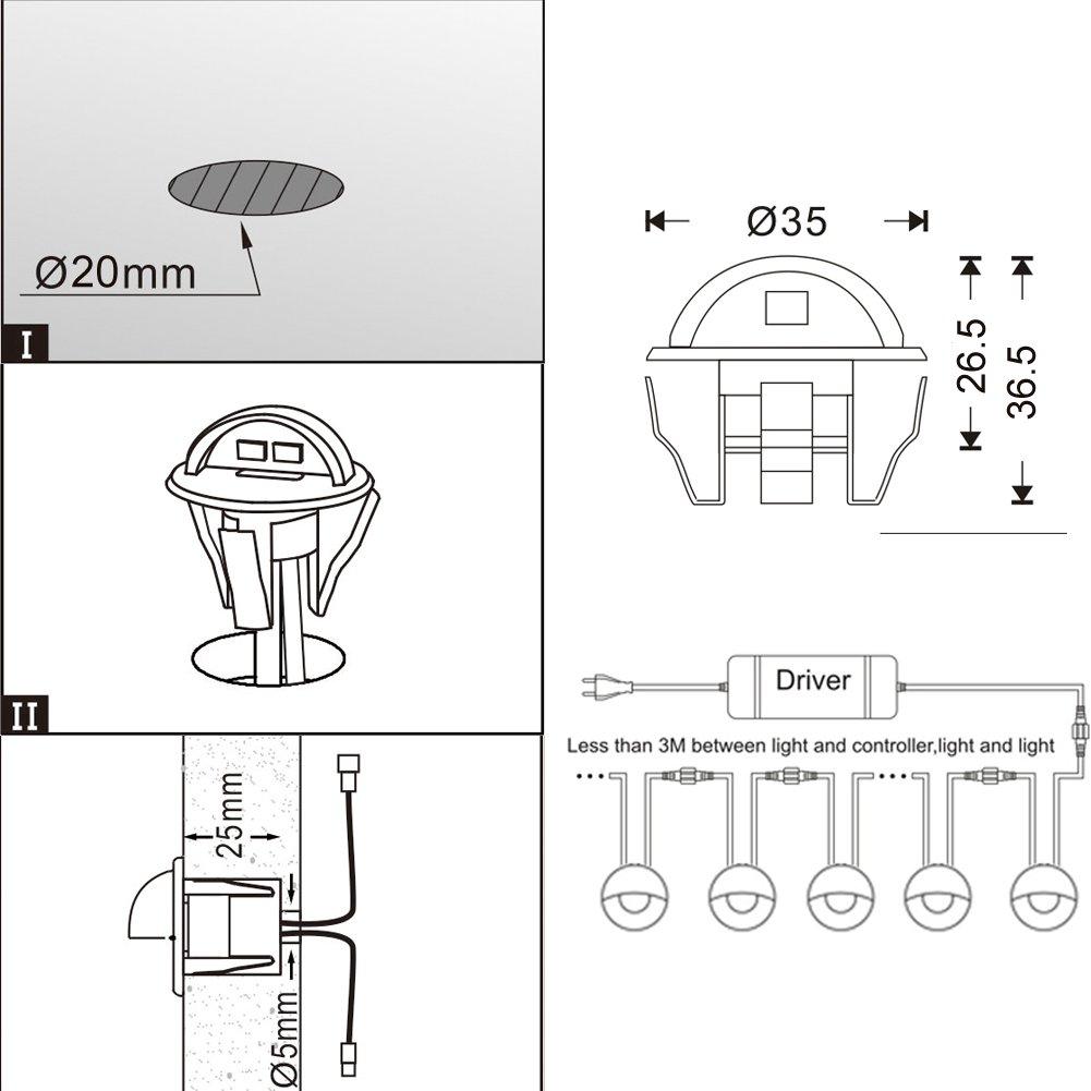 Pack 10, Blanc Chaud Lescalier QACA Encastrables Eclairage pour Terrasse Escalier pour Eclairage Ext/érieur Patio Piscine Paysage DC 12V Etanche IP65