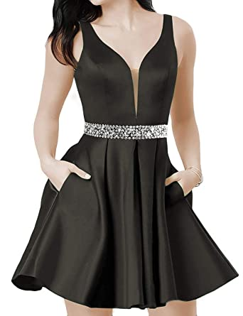 Satin Prom Dresses Short V-Neck Backless Homecoming Dresses with Pockets Black B Size 2
