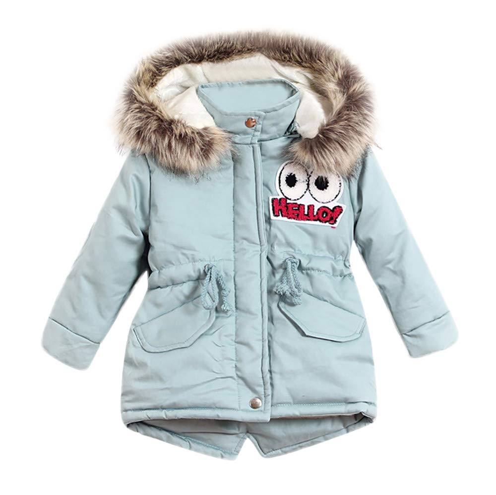 Little Girl Winter Warm Coat,Jchen(TM) Clearance! Baby Infant Kids Little Girls Long Sleeve Cartoon Eye Letter Hooded Keep Warm Coat Jacket for 1-6 Y (Age: 5-6 Years Old, Light Blue)