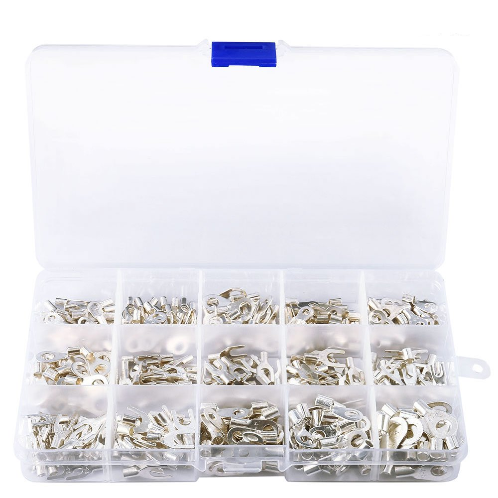 Enjoygous 375 PCS 15 in 1 Metal Non-Insulated Ring Fork U-type Terminals Tin-Plated Copper Terminals Assortment Kit Cable Wire Connector Crimp Spade Electric Wire Wiring Kit, Silver