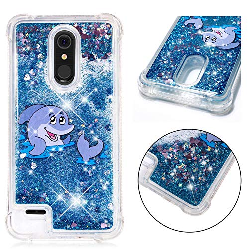 LG K30 Case,LG Premier Pro LTE Case, LG Phoenix Plus Case, ZERMU Shockproof Cartoon Pattern Moving Liquid Sparkling TPU Bumper Luxury Bling Quicksand Flowing Floating Glitter Case for LG K10 2018
