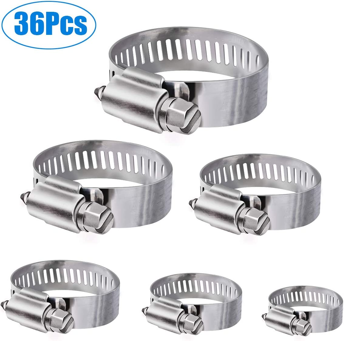 Clips de manguera WinWoner, 36 piezas Surtido de abrazaderas de manguera de acero inoxidable con rango ajustable de 6-51 mm 8 tamaños para tubería de agua, tanque de gas, etc