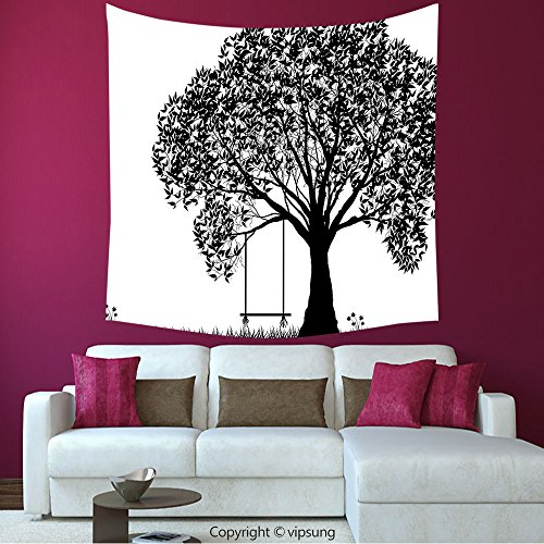 House Decor Square Tapestry-Apartment Decor A Tree Silhouette With A Swing Illustration Flowers And Grass Pattern Black And White_Wall Hanging For Bedroom Living Room (Halloween Tree Silhouette Pattern)