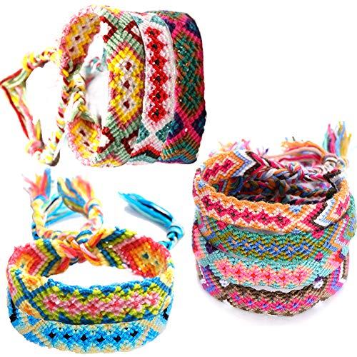 9Pcs Nepal Woven Bracelets Classic Handmade Braided Bracelets Friendship Couple Bracelet Multicolor Luck Bracelet Handmade Cords Woven Braid Strand for Wrist Ankle