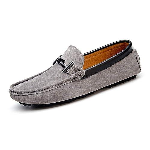 Mocasines De Hombre Mocasines De Cuero De Gamuza Zapatos Sin Cordones para Botes Verano Transpirables CóModos