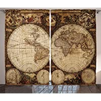 Ambesonne Wanderlust Decor Curtains by, Old World Map...